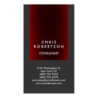 Trendy Gray Red Consultant Business Card