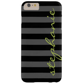 Trendy Gray Striped Pattern with Custom name Barely There iPhone 6 Plus Case