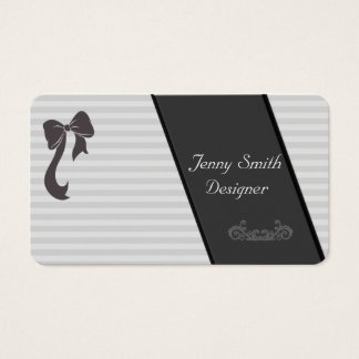 Trendy gray/white stripes  bow dark gray lase business card