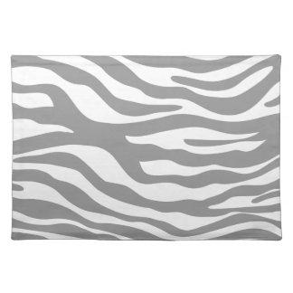 Trendy Gray Zebra Print Pattern Cloth Placemat