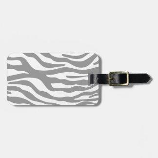 Trendy Gray Zebra Print Pattern Travel Bag Tags