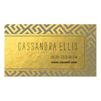 Trendy Greek Key Diagonal   gold foil grey Business Card