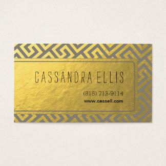 Trendy Greek Key Diagonal | gold foil grey Business Card