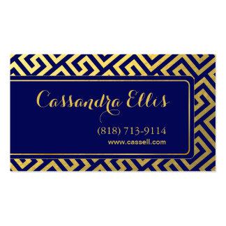 Trendy Greek Key Diagonal   gold foil navy Business Card