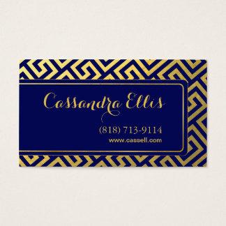 Trendy Greek Key Diagonal | gold foil navy Business Card