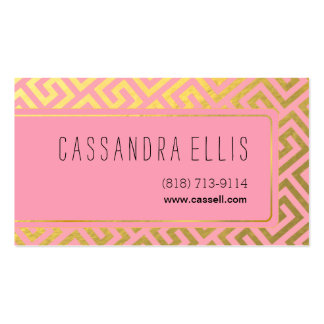 Trendy Greek Key Diagonal   gold foil pink Business Card