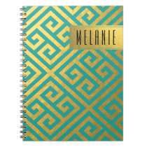 Trendy Greek Key Diagonal | gold foil teal Notebook