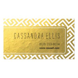 Trendy Greek Key Diagonal   gold foil white Business Card