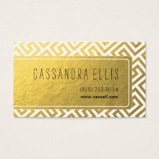 Trendy Greek Key Diagonal | gold foil white Business Card