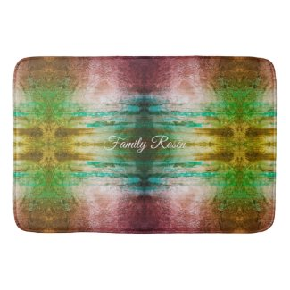 Trendy Green Abstract Personalized Bath Mat