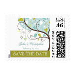 Trendy green and blue love birds save the date postage stamps
