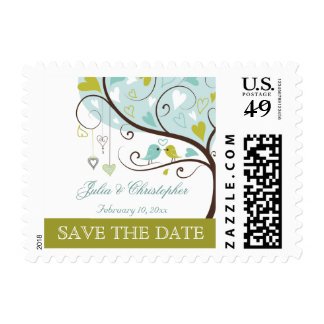 Trendy green and blue love birds save the date postage stamp