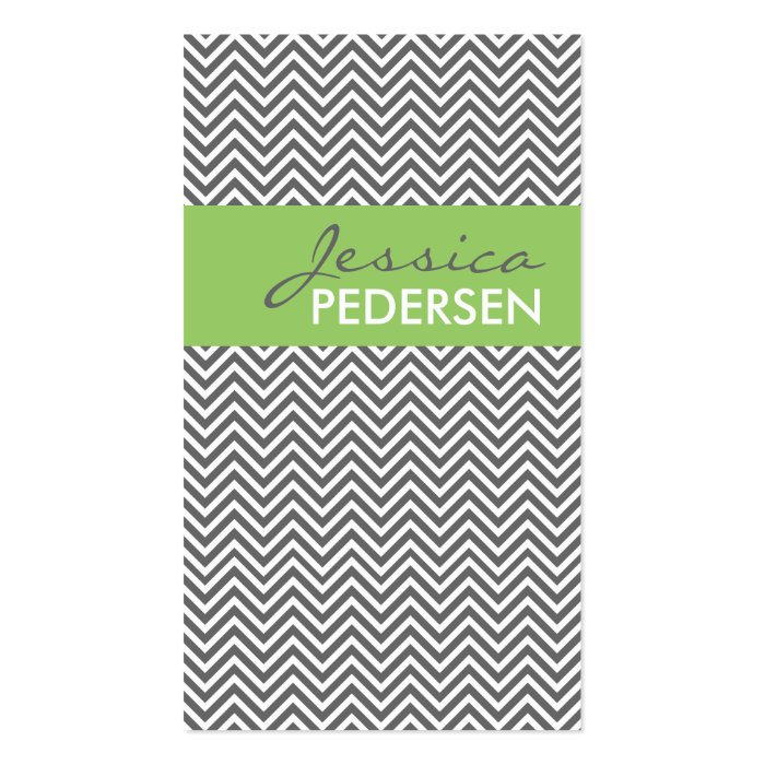 Trendy Green and Gray Chevron Business Cards