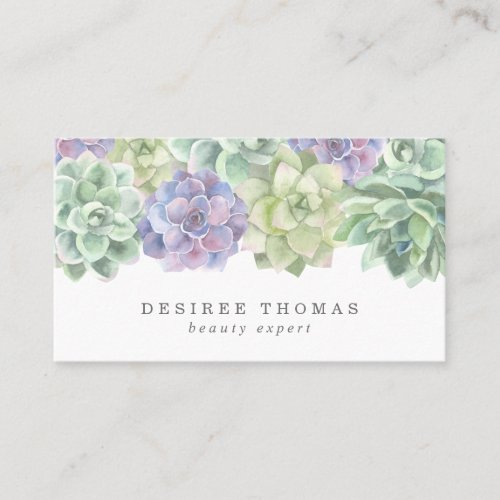 Trendy Green and Purple Watercolor Succulents Business Card