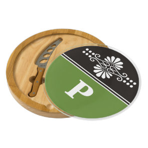 Trendy  Green Black And White Custom Monogram Cheese Board