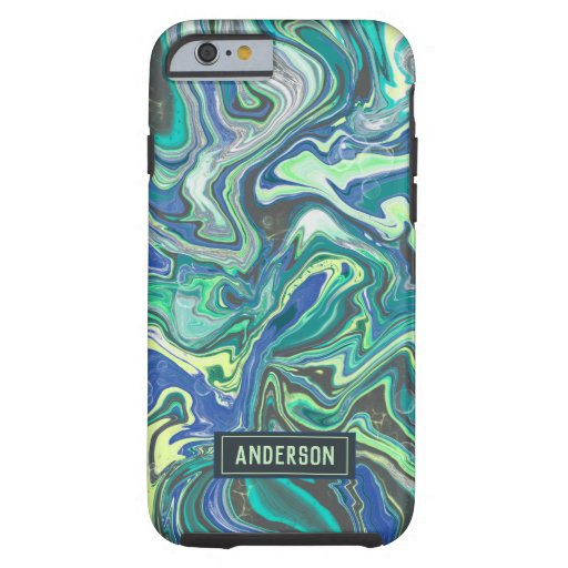 Trendy Green blue marbling design Tough iPhone 6 Case