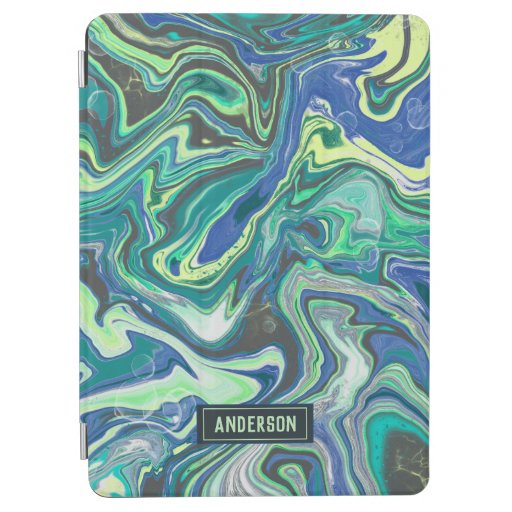 Trendy Green blue marbling design iPad Air Cover