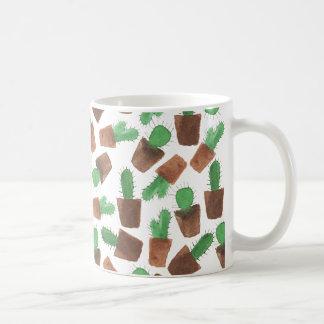 Trendy green brown watercolor cactus pattern coffee mug