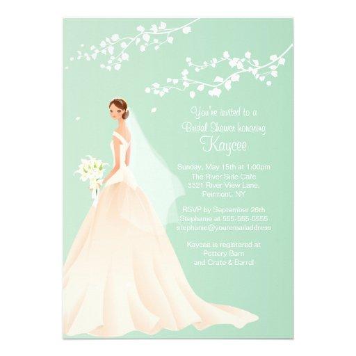 Trendy Green BRUNETTE Bride Bridal Shower Invite
