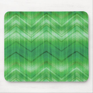 Trendy Green Chevron Zigzag Stripes Pattern Mouse Pad