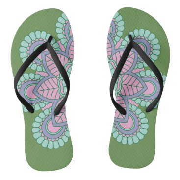 Beach Themed Trendy Green Floral Flip Flops