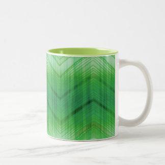 Trendy Green Girly Zigzag Stripes Pattern Two-Tone Coffee Mug