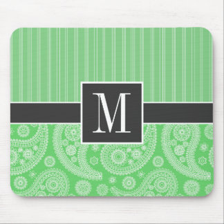 Trendy Green Paisley Mouse Pad