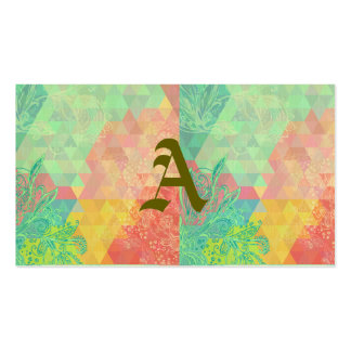 Trendy,green,pastels,girly,graphic,pattern,vintage Double-Sided Standard Business Cards (Pack Of 100)