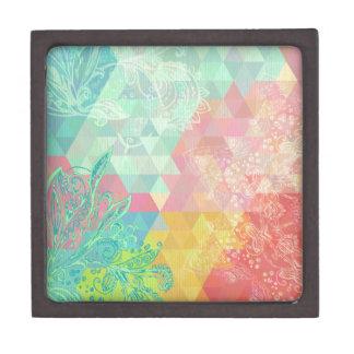 Trendy,green,pastels,girly,graphic,pattern,vintage Premium Keepsake Box