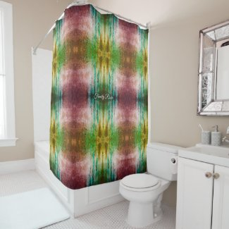Trendy Green Patterned vivid art Personalized Shower Curtain
