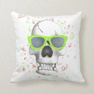 Trendy green skull cushion