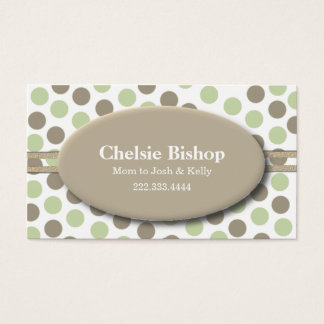 Trendy Green & Taupe Polka Dot Mommy card