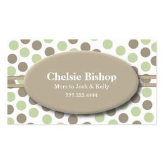 Trendy Green & Taupe Polka Dot Mommy card Double-Sided Standard Business Cards (Pack Of 100)