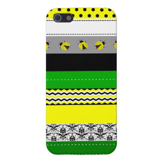 Trendy Green Yellow Black White Washi Tape Design Cover For iPhone SE/5/5s