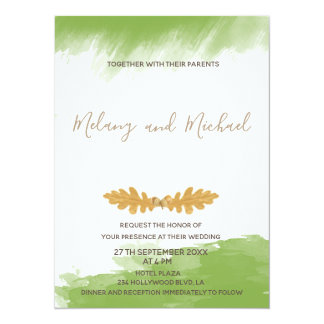 Trendy Greenery watercolor oak leaf acorn autumn Card