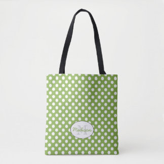Trendy Greenery White polka dots pattern Monogram Tote Bag