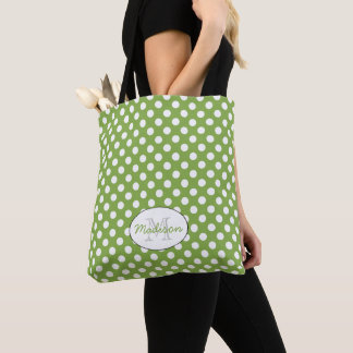 Trendy Greenery White polka dots pattern Monogram Tote Bag