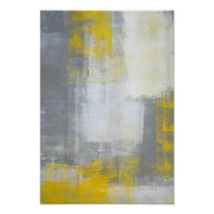 Trendy Grey And Yellow Abstract Art Poster