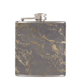 Trendy Grey cement concrete gold marble pattern Hip Flask