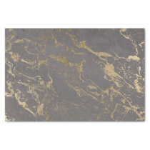 Trendy Grey cement concrete gold marble pattern Tissue Paper