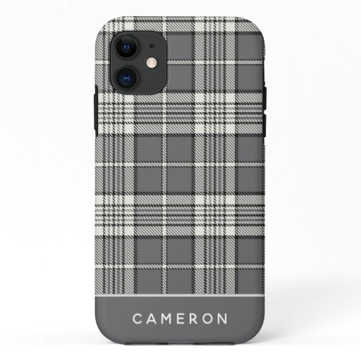 Trendy Grey Flannel Plaid Editable Name Casemate iPhone 11 Case