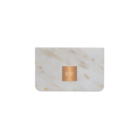 trendy grey marble metallic copper square monogram business card