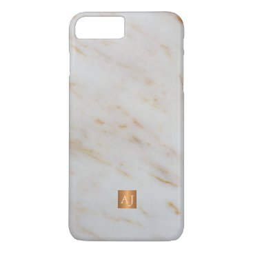 Professional Business Trendy grey marble metallic copper square monogram iPhone 7 plus case