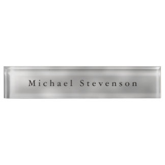 Trendy Grey Modern Design Unique Personal Name Plate