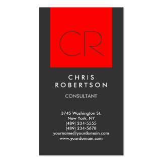 Trendy Grey Red Stripe Monogram Business Card