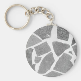 Trendy Grey White Tile Pattern, Stone Bricks Tiles Basic Round Button Keychain
