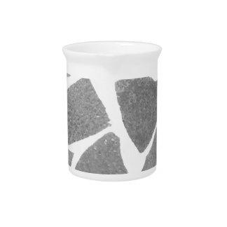 Trendy Grey White Tile Pattern, Stone Bricks Tiles Drink Pitcher