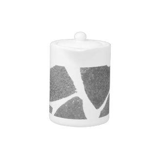 Trendy Grey White Tile Pattern, Stone Bricks Tiles Teapot
