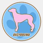 Trendy Greyhound Round Stickers