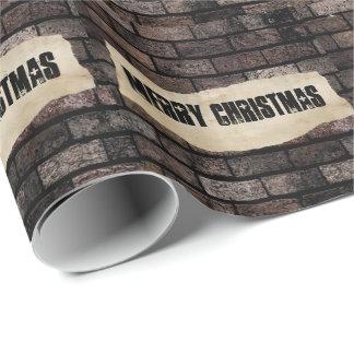 Trendy grundge brick wall fun Christmas Wrapping Paper